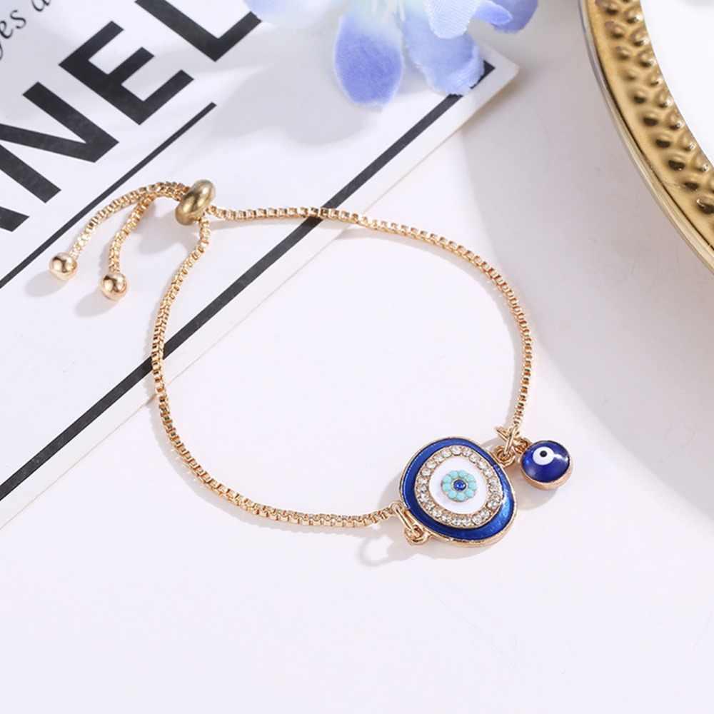 Турецкий синий кристалл сглаза браслеты для женщин ручной работы золотые цепочки Lucky ювелирные изделия браслет женские ювелирные изделия #287363