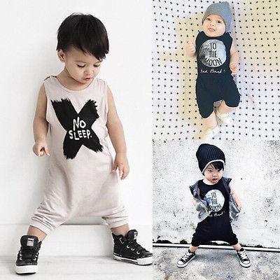 1f3b5331e 2016 New Baby Girls Boys Romper Sleeveless No Sleep Print Cotton ...