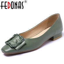 FEDONAS 2020 Spring Summer Quality Genuine Leather Women Pumps Shallow Slip On High Heels Party Wedding Office Shoes Woman