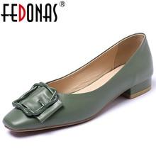 FEDONAS Mùa Xuân 2020 Mùa Hè Chất Lượng Da Thật Chính Hãng Da Nữ Bơm Cạn Trơn Trượt Trên Giày Cao Gót Dự Tiệc Cưới Giày Công Sở Nữ