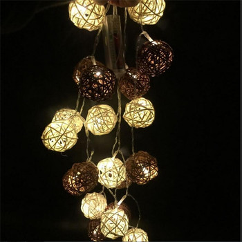 2018 New Warm White 3M 20 LED 4CM White/Brown Rattan Ball Battery String Lighting Holiday Xmas Home Wedding Party Decoration