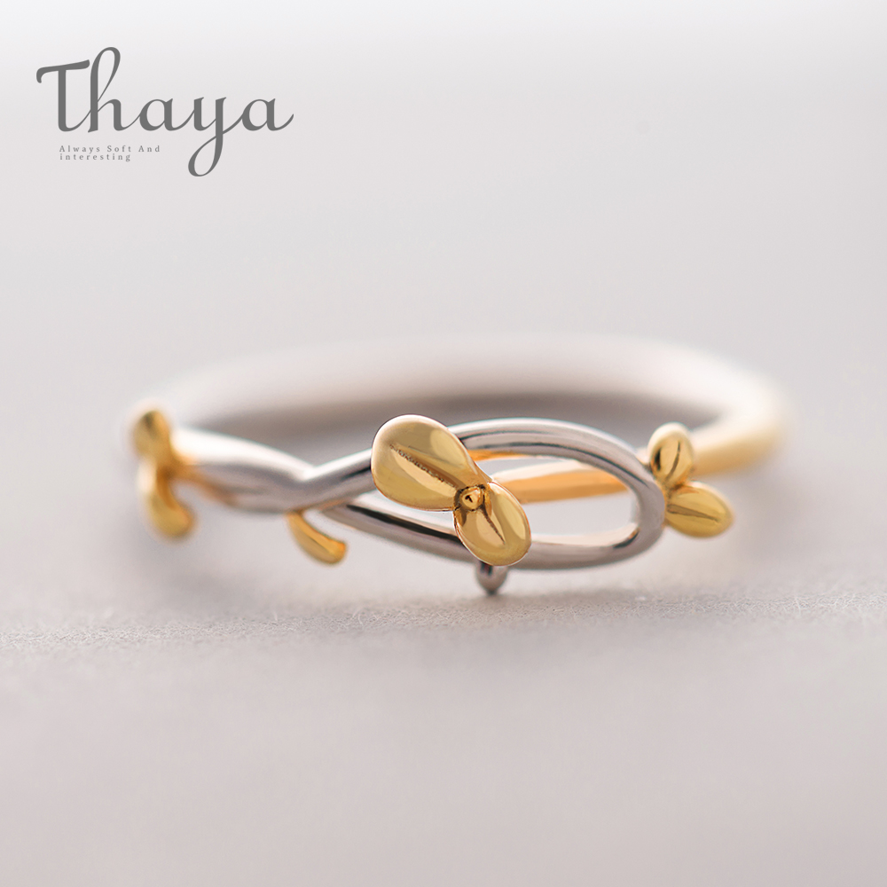 Thaya Gold Bud Ring Plant Leaf Buckle Adjustable Elegant High quality Jewellery Merely Lovely Handmade For Girls Lady Teen Reward