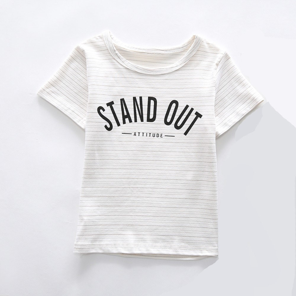 Striped Letter Pattern Unisex Summer Clothing Short Sleeve Kids Casual Cotton T-shirt White Tops Tees Boys Girls Children Tshirt