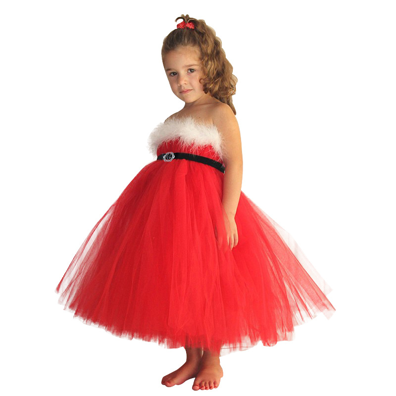 Christmas Tutu Dress Costume for Girls Red Dress Kids Fancy Cosplay Skirt  Carnival Costumes Winter Dress Free Shipping