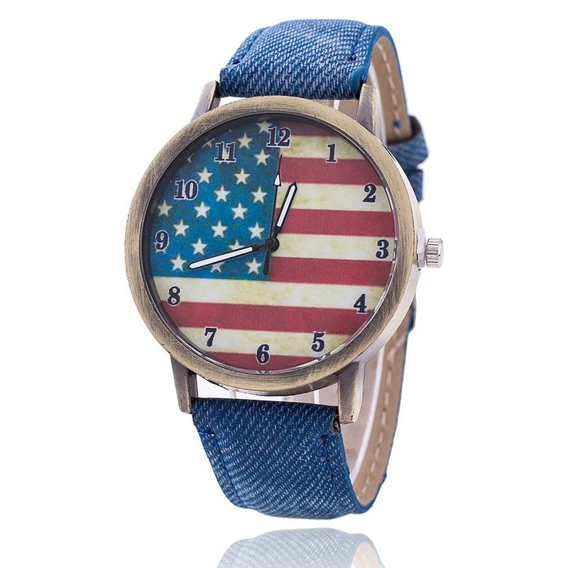 New Fashion Jeans Watch Women USA Flag Quartz Watches Unisex Casual Wrist Watch Relogio Feminino Christmas Gifts 1774 stars and stripes flag jeans quartz watch page 3