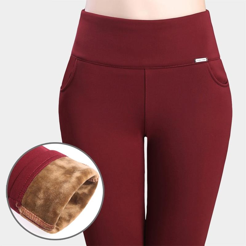 2016 zimní ženy Office Work kalhoty a legíny velké velikosti 4XL Stretch bavlněné tužky kalhoty Candy barva ženské vysoké pas kalhoty  t