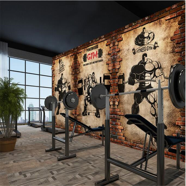 Beibehang Custom Wall Paper Nostalgic Brick Retro Sports Fitness Club Weightlifting Background Papel De Parede