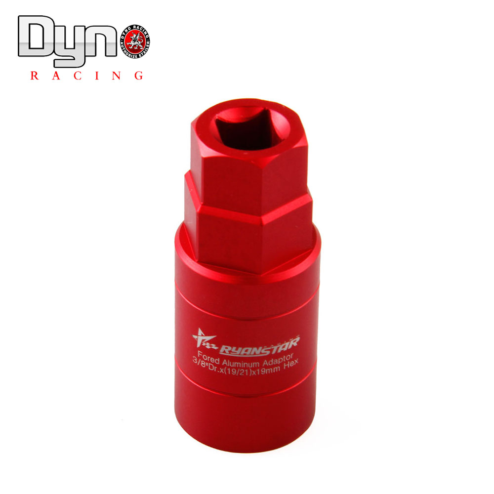 Dyno Ryanstar fored aluminum adapter <font><b>3</b></font>/<font><b>8</b></font> Dr.<font><b>X</b></font>(<font><b>19</b></font>/<font><b>21</b></font>)X19mm HEX HEX SOCKET for aluminium lug nuts