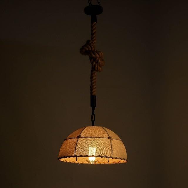 Hand Knitting Vintage Lamp Pendant Lights Fixture Hemp Rope Lamp Shade E27  For Parlor Bar Kitchen