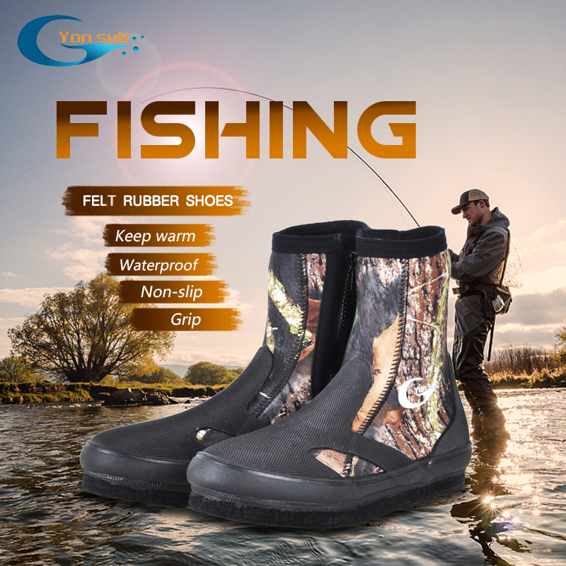 YONSUB 5MM Neoprene Diving Boots Wear resistant Upstream Shoes Non slip Fishing Shoes Camouflage Keep Warm Water Sports Shoes