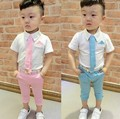 Retail! Hot 2016 Children Suits for Boys Brand Kids Summer Weddings Cotton shirt tie + pants with Belt baby suits Free shipping
