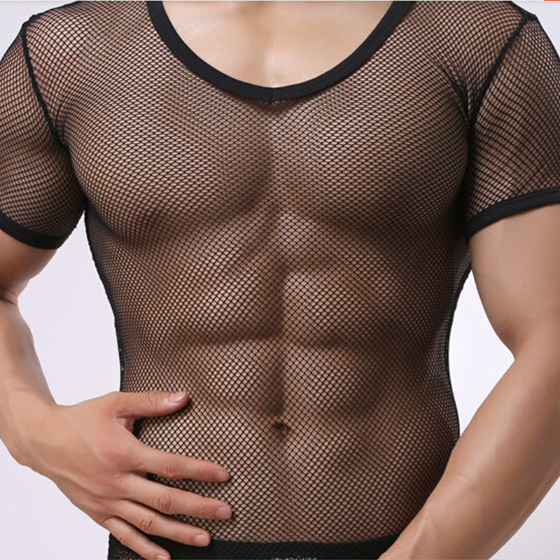Casual Solid Tight Sexy Mens Fitness Super Thin Shapewear Transparent Mesh See Through Short Sleeve   T     shirt   Tops Tees Undershirt