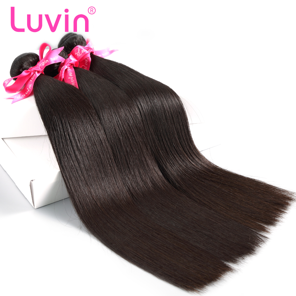 Luvin Peruvian Virgin Hair Straight 3 Bundles Lots 100 Human Hair Weave Bundles Natural Color Hair