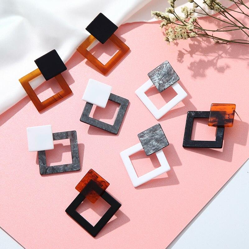 Корейские Модные Акриловые Серьги Геометрические Квадратные висячие серьги из смолы для женщин модные ювелирные изделия Oorbellen