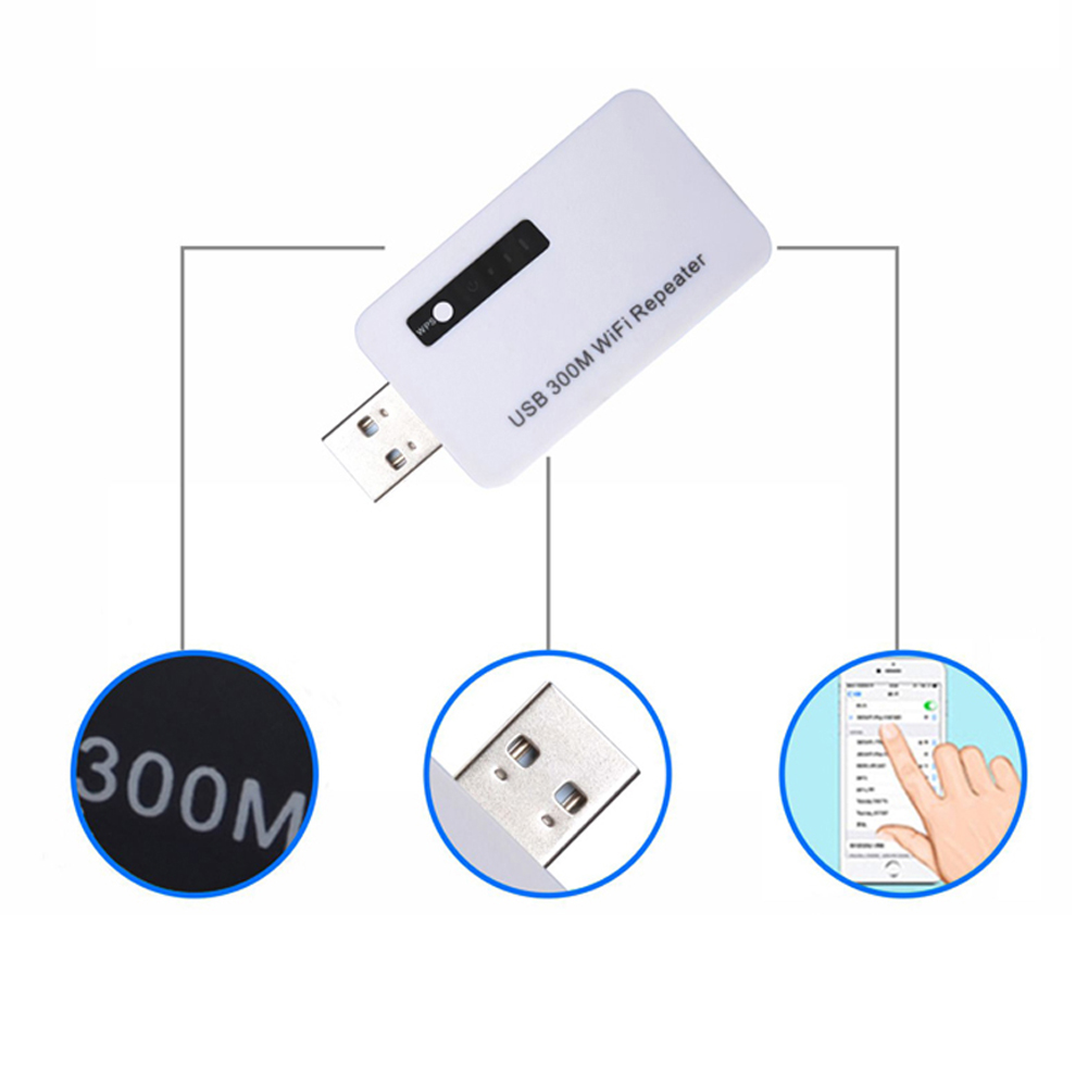 300M Wireless USB WiFi Repeater Mini Network Expander Network Router Signal Range Extend Amplifier via WPS