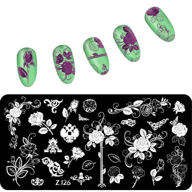 1 st nykomnande 6 * 12 cm blomma nagelpläteringsplattor geometri festival natur manikyr stämpling plåt för nagel konst