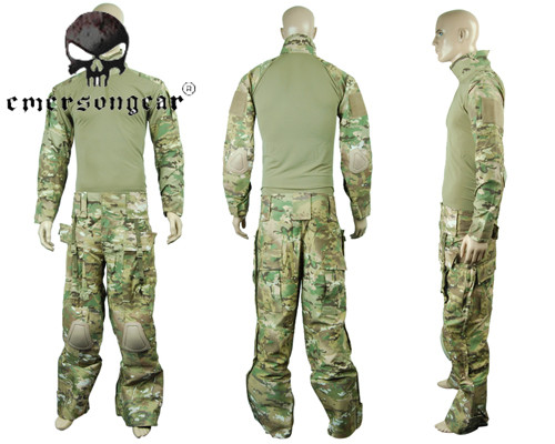 Airsoftsports Tactical Combat Shirt Pants with Elbow Knee Pad  for Hunting Shooting Paintball Military Camo Jacket Ghillie Suit