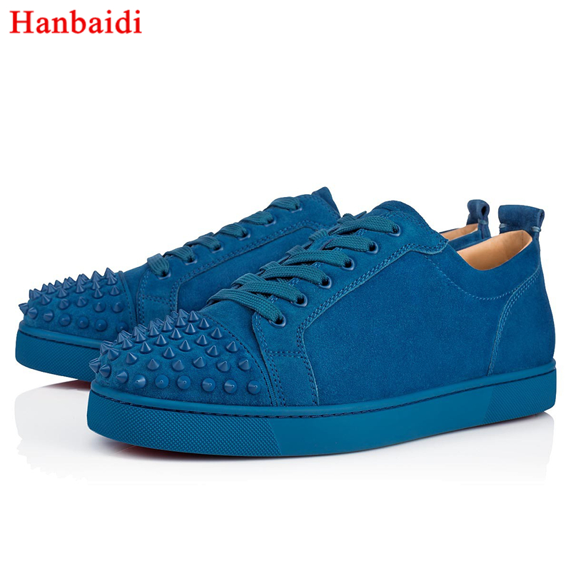 Hanbaidi Mens Suede Flock Leather Casual Shoes Fashion Rivets Studed Mens Loafers Runway Lace Up Round Toe Dress Party Shoes 46 hanbaidi luxury handmade string beads mens sneakers runway genuine leather white low top mens casual shoes round toe flats men