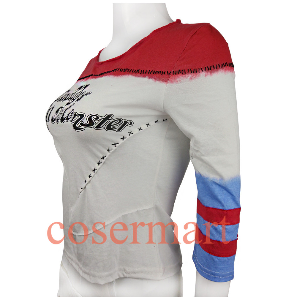 Suicide squad harley quinn costume t shirt daddy's lil monster t-shirt joker cosplay costumes without holes-1