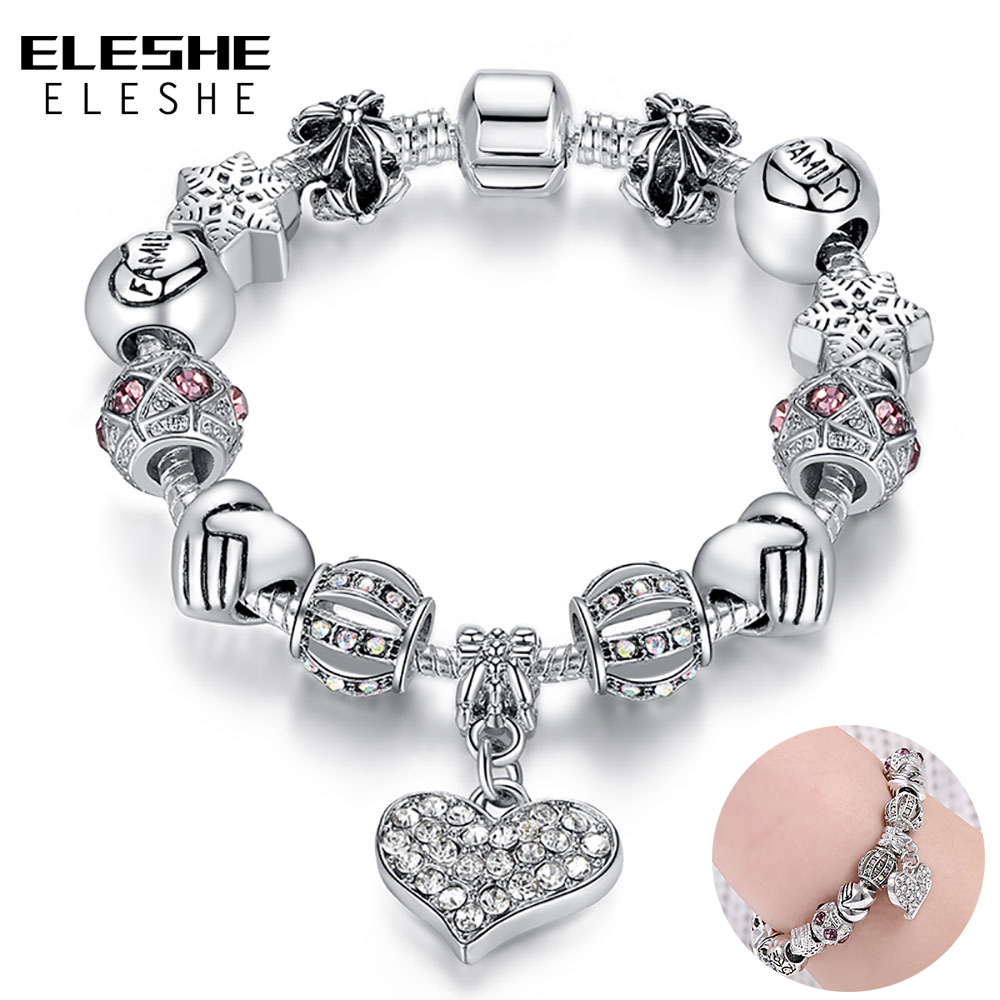 ELESHE Luxury Brand Women Armbånd 925 Unik Sølv Krystall Charm Armbånd For Kvinner DIY Perler Armbånd Og Bangles Smykker Gave