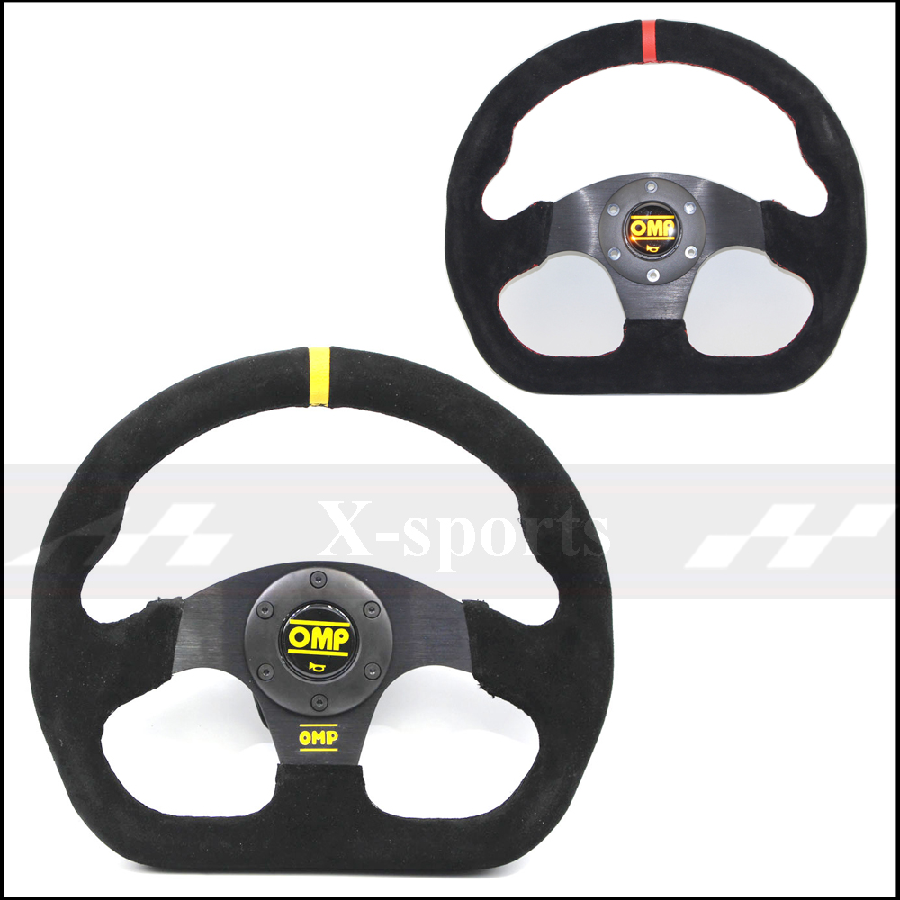 OMP car Sport steering wheel racing type High quality universal 13inches 320MM Aluminum+suede Yellow, redOMP car Sport steering wheel racing type High quality universal 13inches 320MM Aluminum+suede Yellow, red