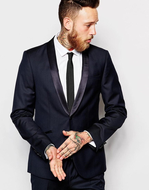 2018 New Slim Fit Navy Mens Suits Shawl Lapel Groom Tuxedos Two ...
