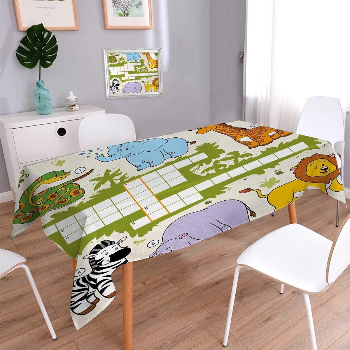 Word Search Puzzle Printed Tablecloth Colorful Crossword