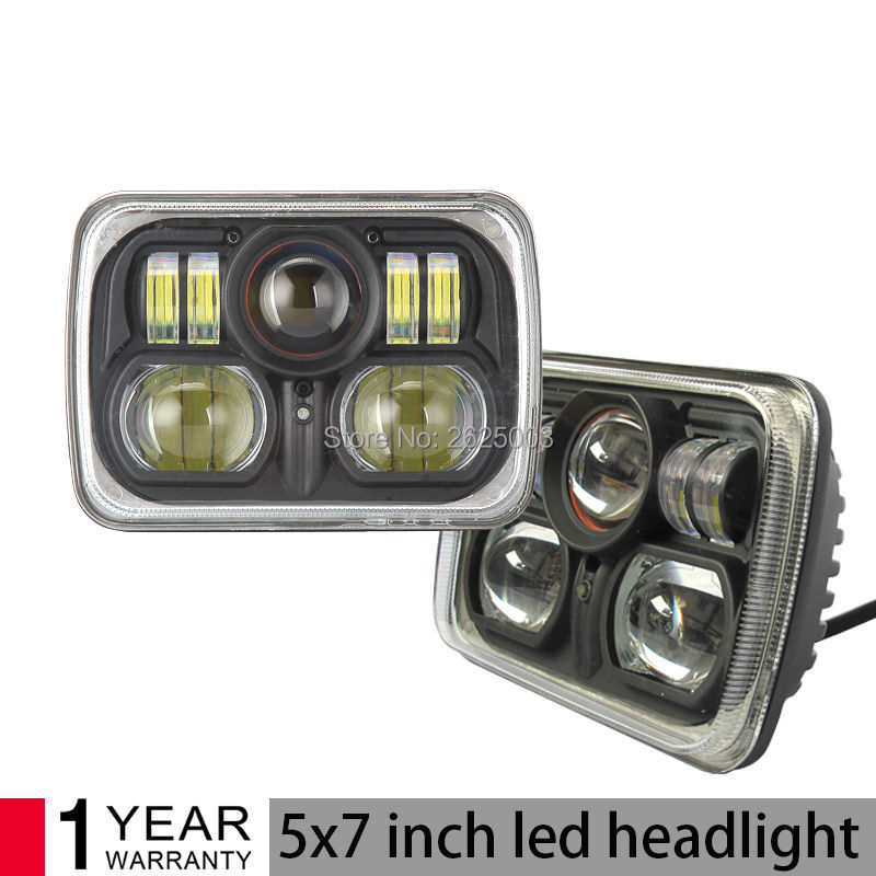 45W 5x7 Led Headlight with Angle Eyes for Truck 4x4 Offroad High Low Beam Qquare Led Headlight Sealed Beam H4 Headlight 2pcs free shipping 7 led headlight hi low beam with color drl 12v 24v c ree led headlight for j eep offroad 4x4