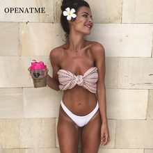 OPENATME Sexy Backless Tight-fitting Chestless Pad Topless High Waist Split Bikini Suit Ladies Pink Bow White Triangle Swimsuit