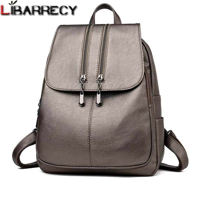 771fdabeade0 Повседневная двойная молния рюкзак женский большой емкости школьная сумка  для девочки брендовая кожаная сумка для женщин 2018 женская сумка -  a.gharib.me