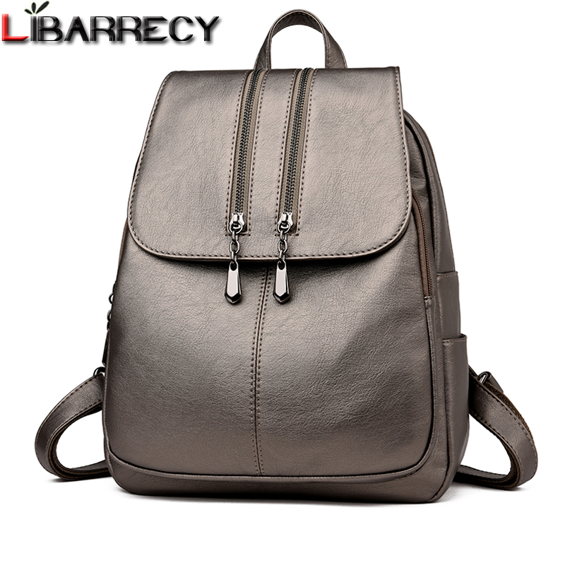 Casual Double Zipper Backpack Female Large Capacity School Bag For Girl Brand Leather Shoulder Bag For Women Lady's Bag