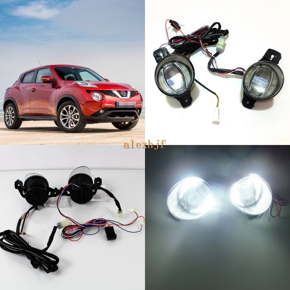 July King 1600LM 24W 6000K LED Light Guide Q5 Lens Fog Lamp+1000LM 14W Day Running Lights DRL Case for Nissan Juke 2015-ON for opel astra h gtc 2005 15 h11 wiring harness sockets wire connector switch 2 fog lights drl front bumper 5d lens led lamp