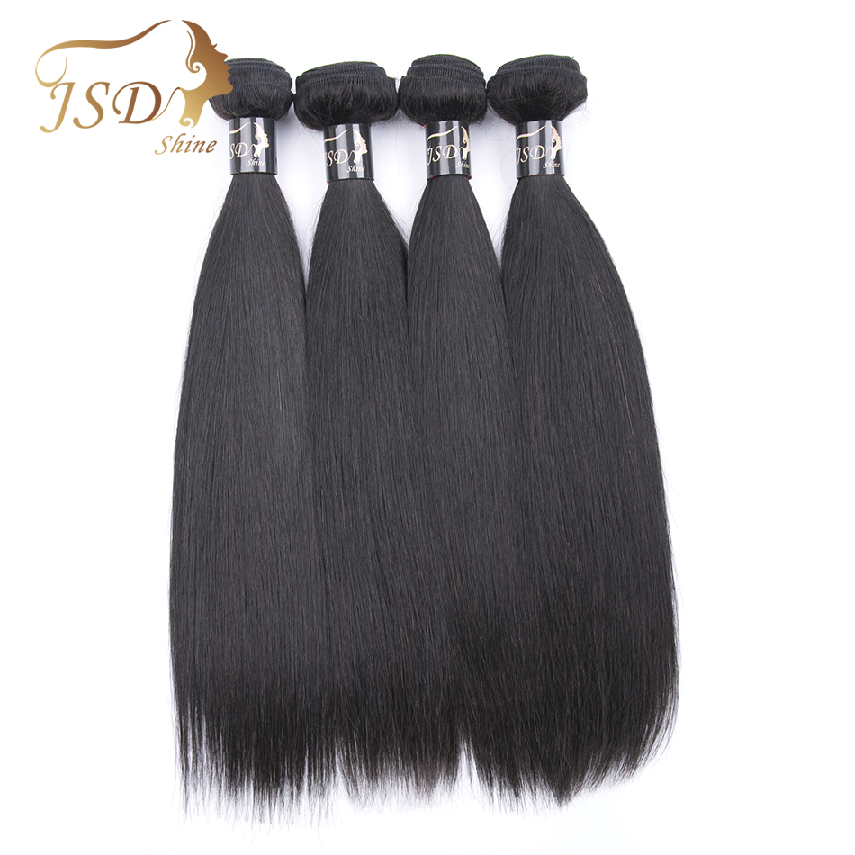 JSDShine Hair Indian Straight Human Hair 4 Piece Hair Weave Bundles 10-28inch Natural Color Free Shipping Remy Hair No Tangle