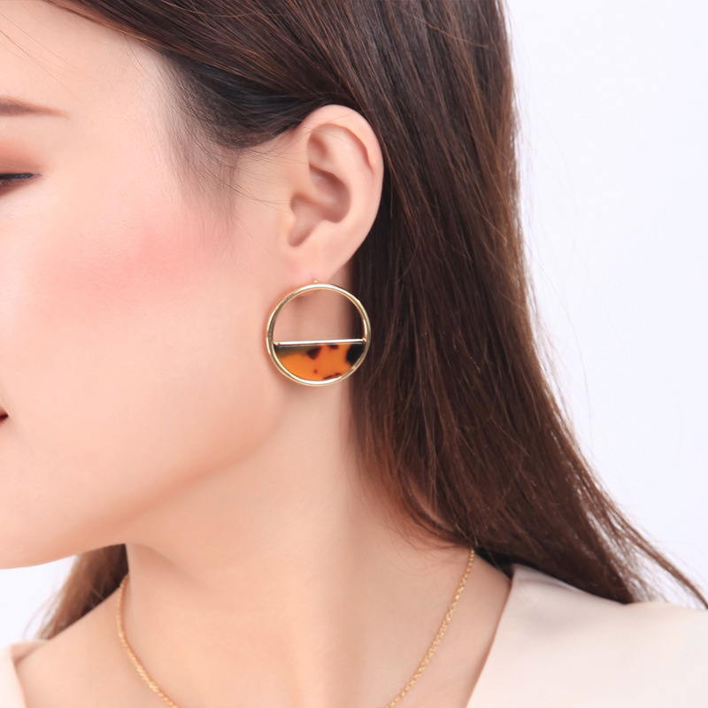 2019 New Arrive Ins Trendy Drop Earrings Geometric Semicircle Acrylic Inlay Alloy Circle Dangle Drop Earrings for Woman Jewelry image