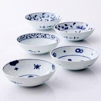 MadeInJapan round ceramic bowls porcelain tableware deep blue under glazed mian course rice soup bowls fruit noodle bowl 6.5Inch