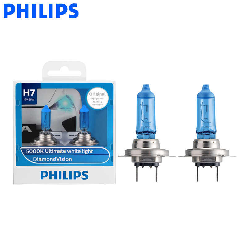 Philips H7 12V 55W PX26d Diamond Vision 5000K Super White Light Halogen Bulbs Auto Headlight 12972DV S2, Pair