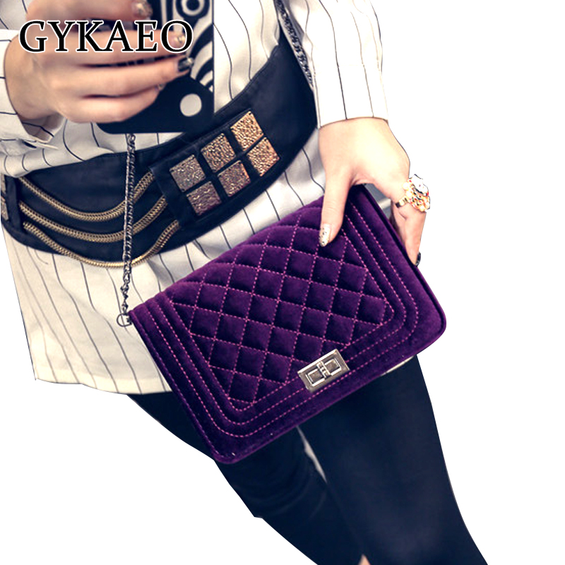 2018 Plaid Chain Fashion snakeskin Velvet women leather handbags day clutch womens bag small shoulder bag women messenger bags