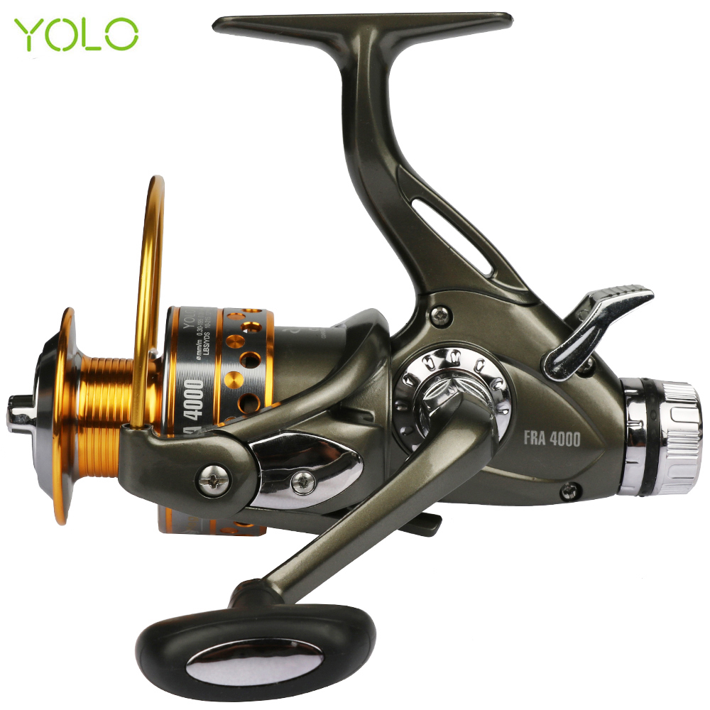 YOLO Dual Brake Feeder Fiskehjul 10BB Carp Reel Tackle For Fiske Spinning Free Spare Coil FRA 3000 4000 5000 6000