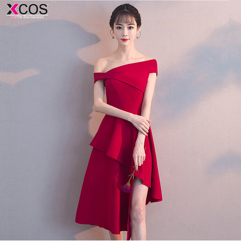 burgundy   Cocktail     Dresses   Asymmetrical Sexy Women 2018 Sleeveless Short Vestidos Red off the shoulder Women   Cocktail     Dresses