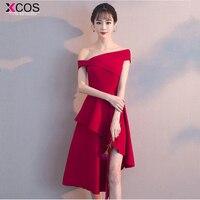 burgundy Cocktail Dresses Asymmetrical Sexy Women 2018 Sleeveless Short Vestidos Red off the shoulder Women Cocktail Dresses