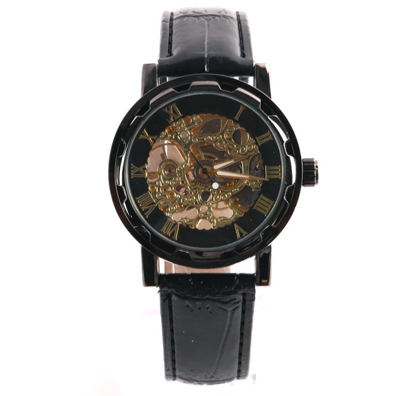 Classic Dial Skeleton Men's Leather Band Mechanical Luxury Watches Sport Army Skeleton Quartz Wrist Watch Relogio Wristwatch luxury men mechanical wrist watch circles hand winding crocodile embossed genuine leather skeleton dial gentleman gear windup
