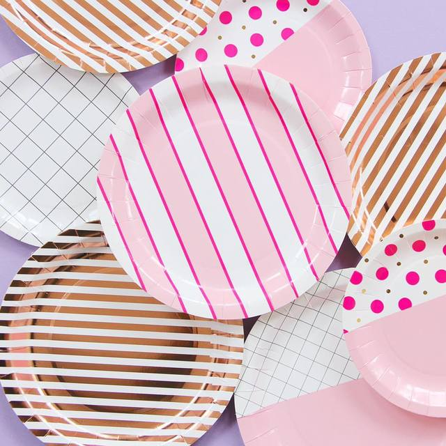 Disposable Plates Pink Blue 9 Inch Paper Plate Baby Bride Shower ...