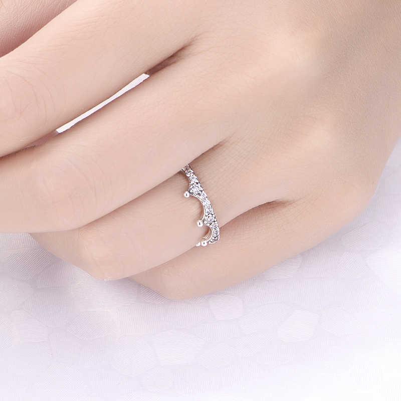 ใหม่ 100% 925 เงินสเตอร์ลิงแหวน Enchanted มงกุฎวงแหวน Vintage Clear CZ Tiara Shine Gold สำหรับเครื่องประดับสตรี