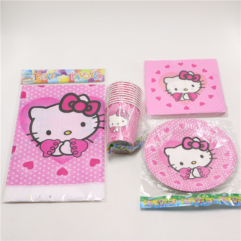 41pcs Lot Kids Girls Baby Birthday Decoration Hello Kitty Theme