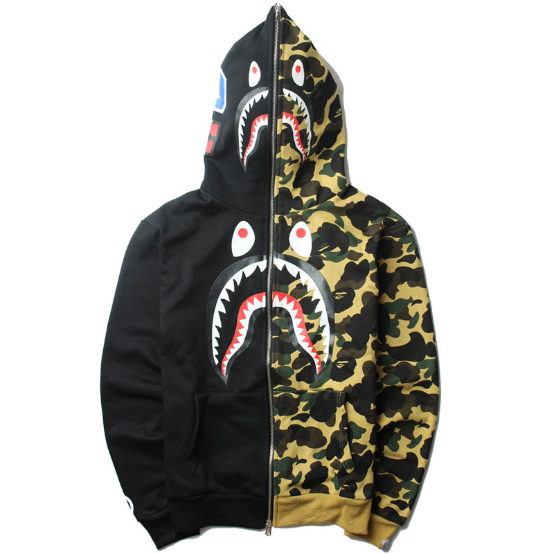 Bape Shark Hoodie Men Asian Size Shark Sweatshirt Patchwork Hoodies Mens Long Sleeve Streetwear