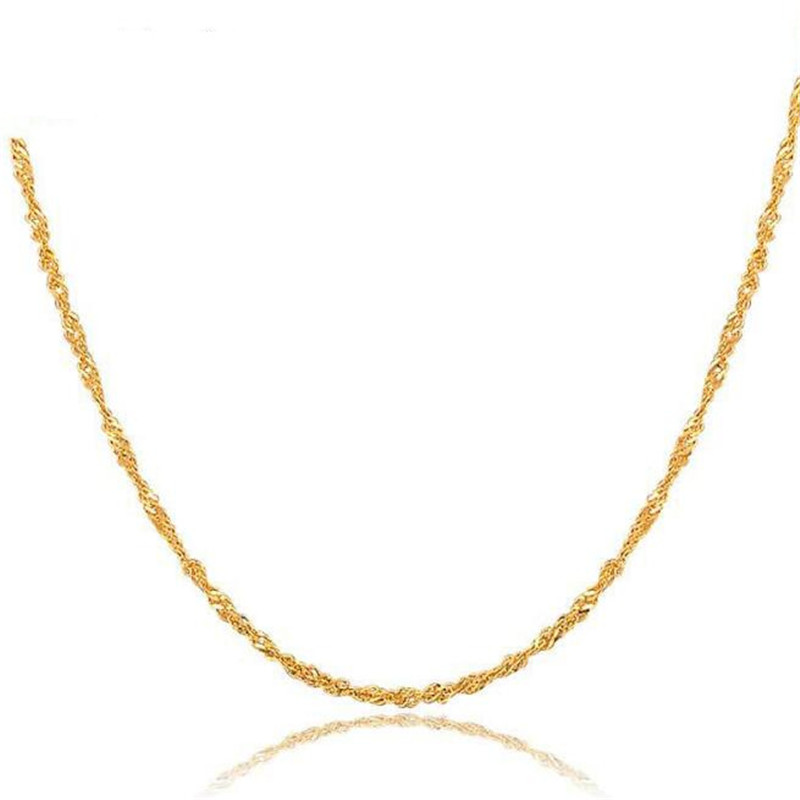 Fashion Women Girl Jewelry Rose Gold White Gold Yellow Gold Color Gold Water Wave Ripples Chain Necklace Accessories Wholesale цены онлайн