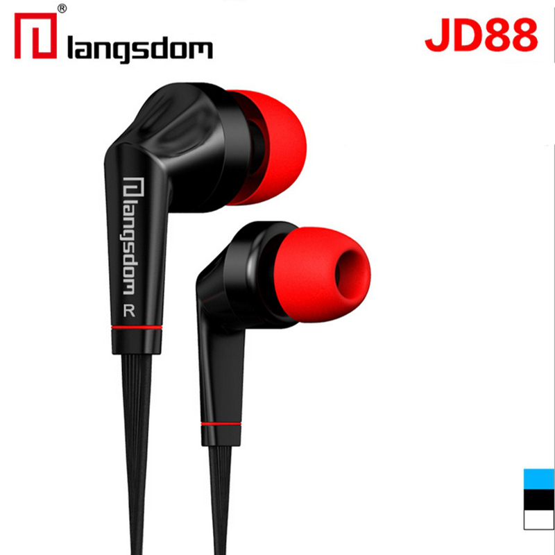 Langsdom JD88 Earphone Headset  Hifi Stereo In-Ear Hearphone With Microphone Earphones For Iphone for Samsung For Xiaomi For Mp3 genuine xiaomi hybrid earphone auricolariin ear hifi headset microphone pro multi unit circle iron headphones mobile earphones