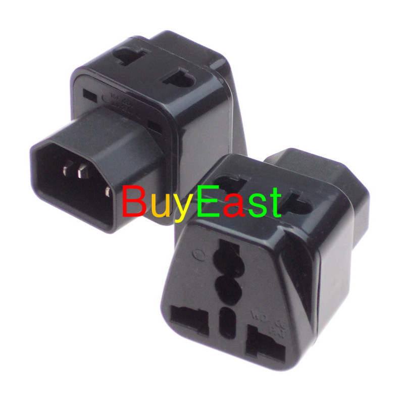 2 X Universal to IEC320 C14 Male Plug <font><b>Adapter</b></font> 2 Multi Outlet Port AC 250V 10A PDU IEC320 C13 to C14 Plug image