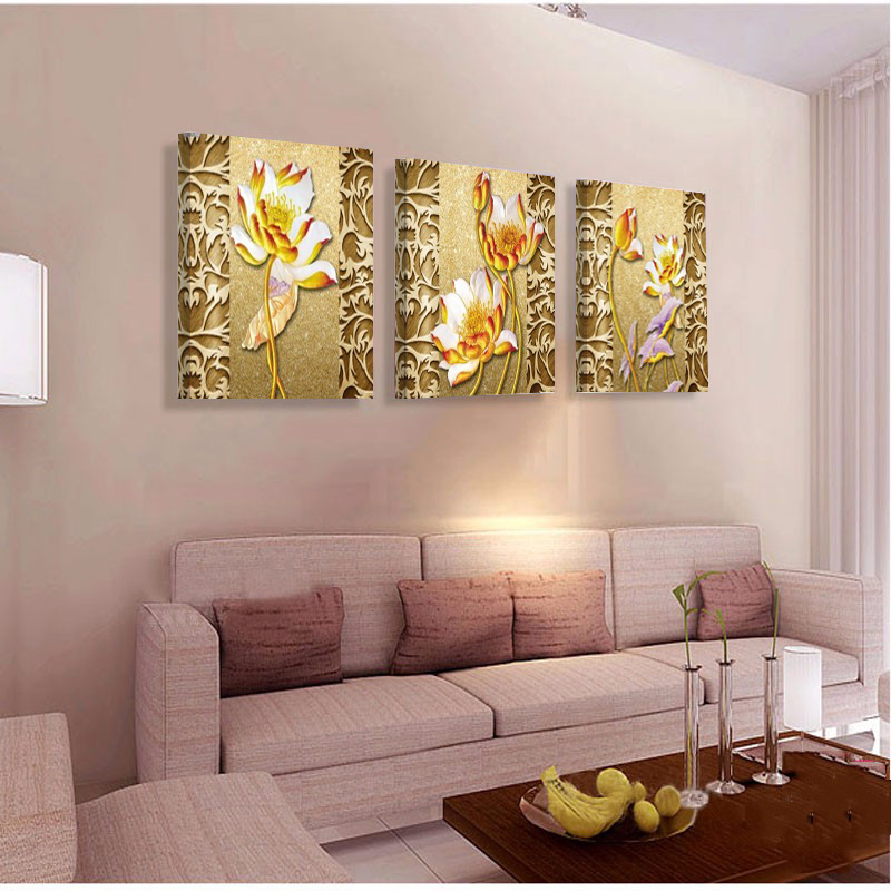 No Frame Golden Lotus Cheap Modern Oil Paintings On Canvas Wall Picture For Living Room Home