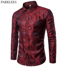Wine Red Paisley Floral Bronzing Silk Shirt Men Brand Slim Fit Long Sleeve Thin Dress Shirts Mens Party Event Social Shirt Male